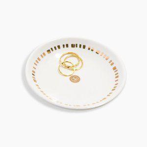 NIB Gorjana Gold & White Round Jewelry Dish